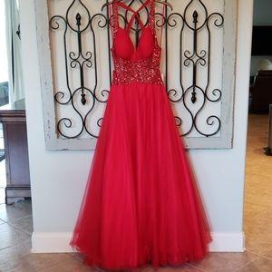 Jovani Red Formal Sequined Backless Dress Size 10
